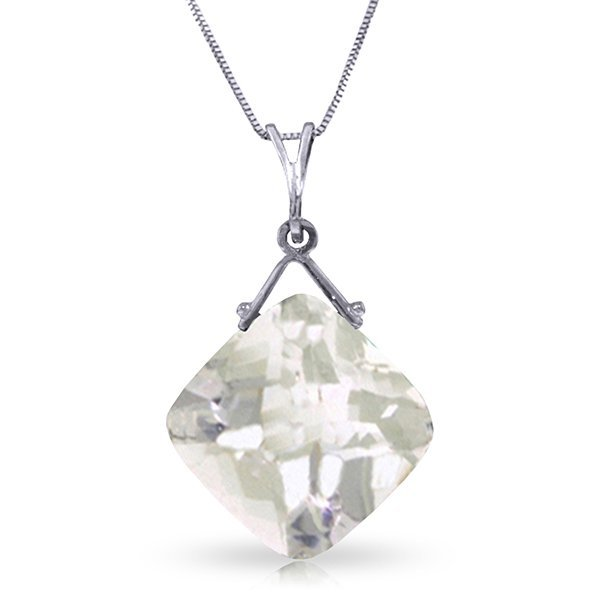 14k WG 8.75ct Cushion White Topaz Necklace