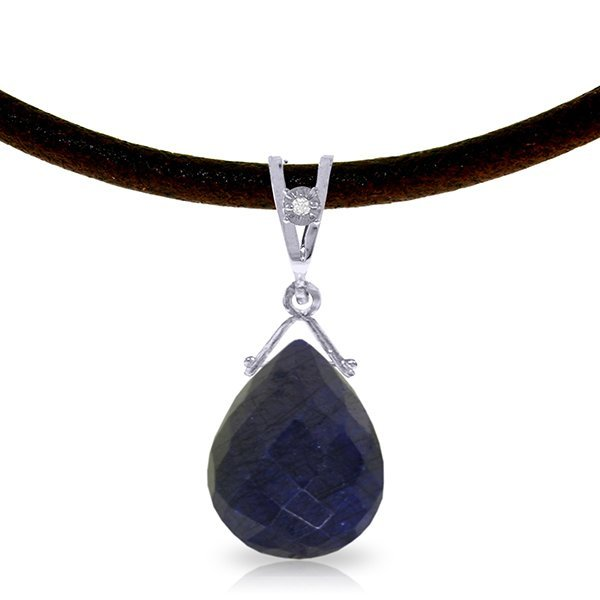 14K White Gold 7.80ct Sapphire & Diamond Necklace