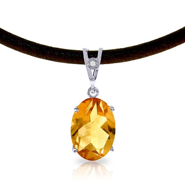 14K White Gold 7.55ct Citrine & Diamond Necklace