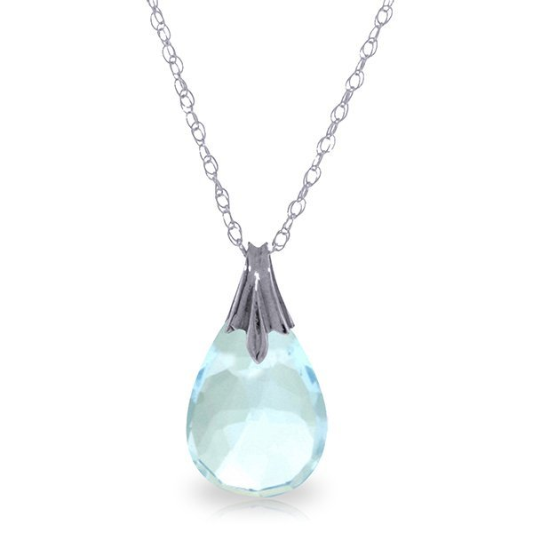 14k Solid Gold 3.0ct Blue Topaz Drop Necklace