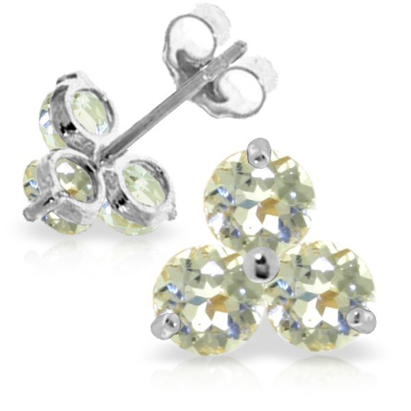 14k White Gold 1.50ct Aquamarine Stud Earrings