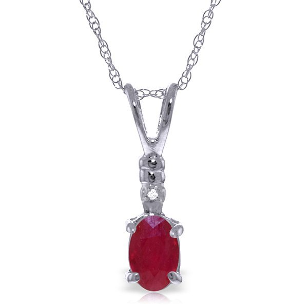 14k WG 0.45ct Oval Ruby & Diamond Necklace