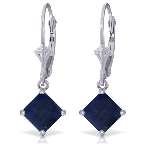 14k White Gold 2.90ct Sapphire Dangle Earrings