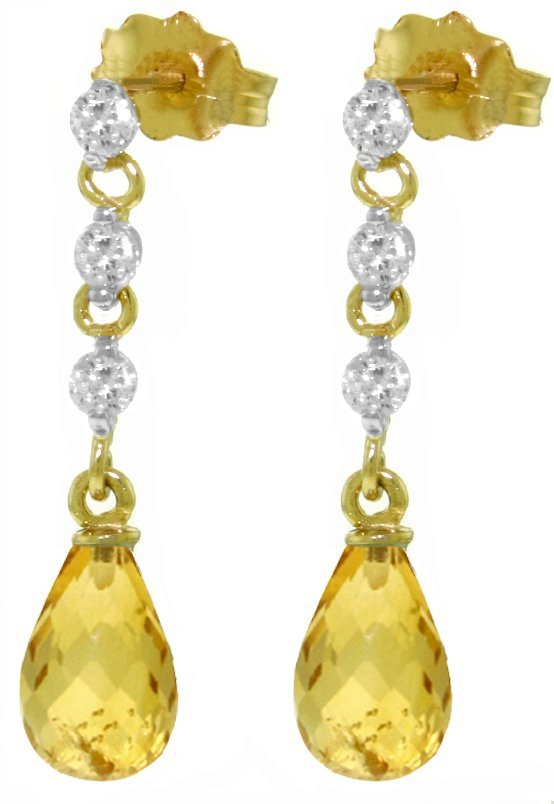 14k 3.0ct Citrine with Diamond Chandelier Earrings
