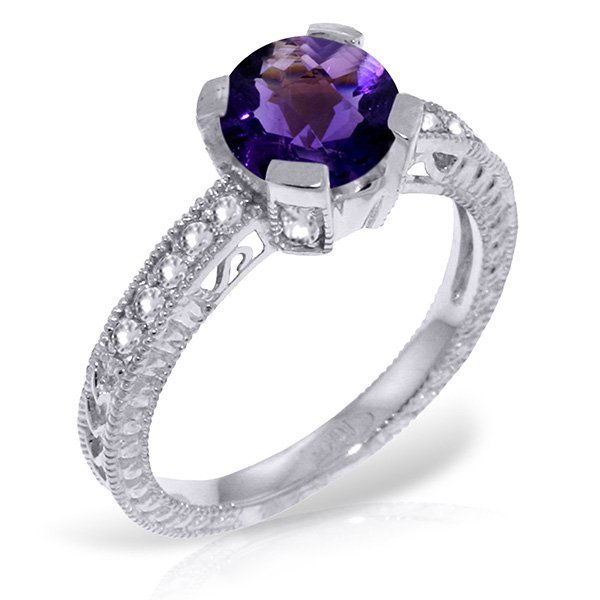 14k WG 1.50ct Amethyst & Diamond Engagement Ring
