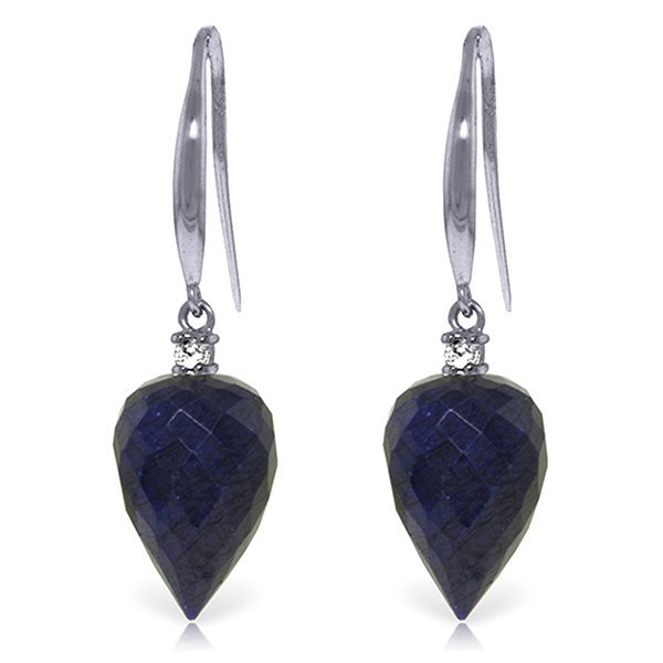 14k WG 25.80ct Sapphire & Diamond Earrings