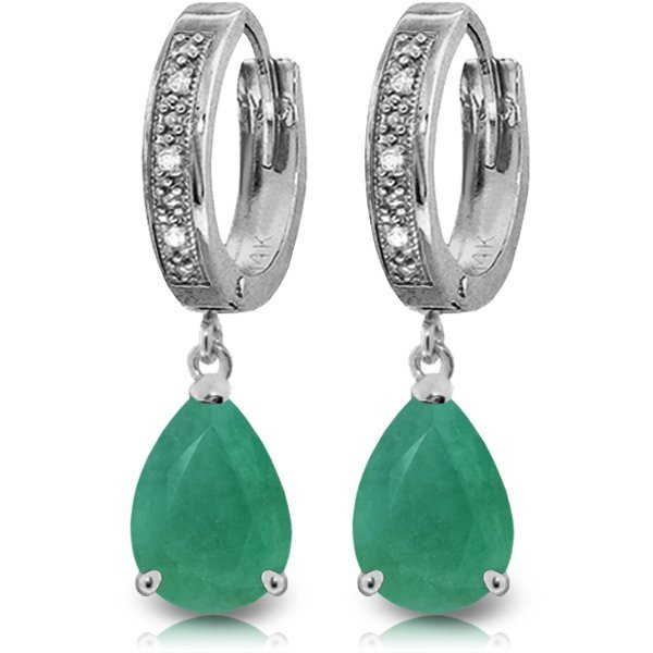 14k WG 2.0ct Emerald & Diamond Hoop Earrings