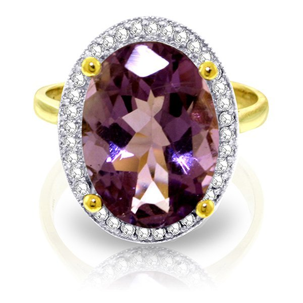 14K Solid Gold 5.1ct Amethyst & Diamond Ring