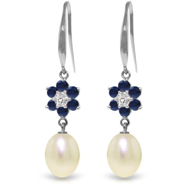 14k WG Sapphire, Pearl & Diamond Earrings