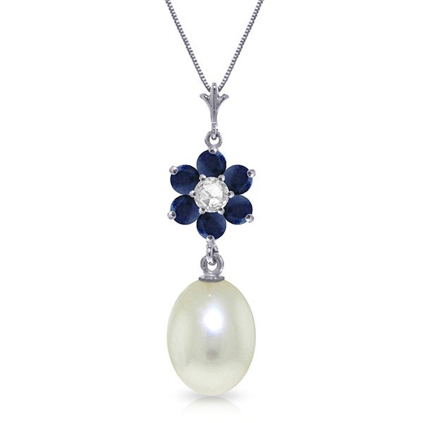 14k exquisite Sapphire, Pearl and Diamond Necklace