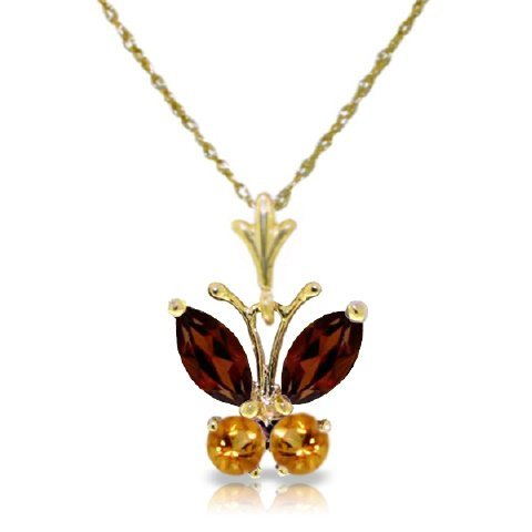 14K YG 0.40ct GARNET & 0.20ct CITRINE NECKLACE