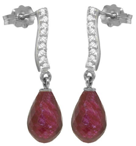 14k 6.60ct Ruby with Diamond Earrings