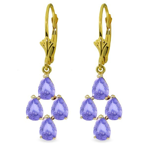 14K Solid Gold 4.50ct Pear Tanzanite Leverback Earring