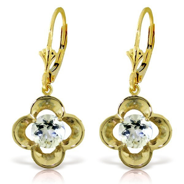 14k Solid Gold 1.10ct Aquamarine Flower Earrings