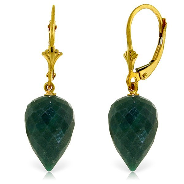 14K Solid Gold 25.70ct Emerald Leverback Earring