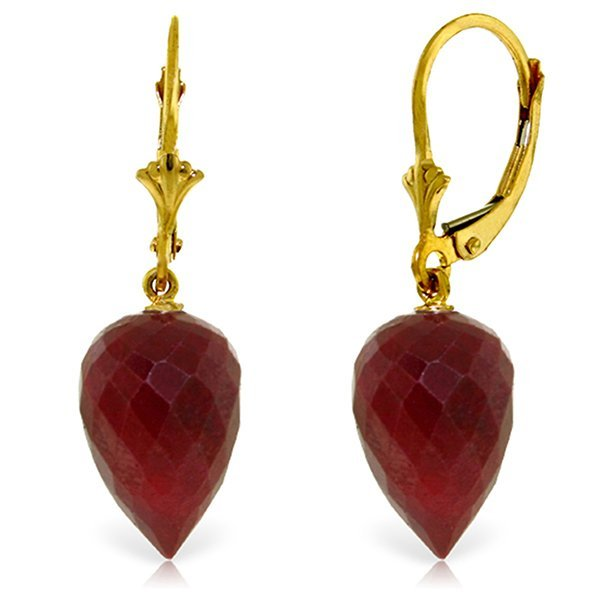 26.10ct Briolette Ruby Earrings in 14k Yellow Gold