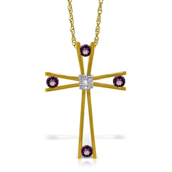 14K Solid Gold .40ct Amethyst & Diamond Cross Necklace