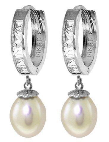 14K White Gold 8.00ct Pearl & 1.30ct White Topaz