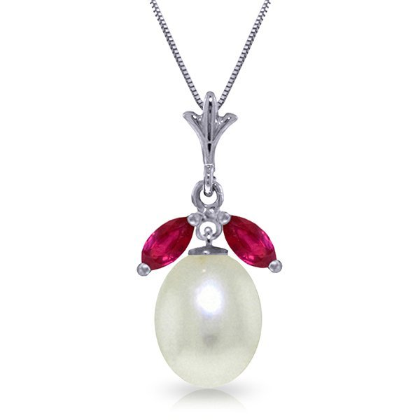 14k WG 4.00ct Pearl Necklace with .50ct Rubies
