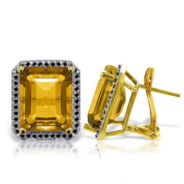 14K Solid Gold 10.4ct Citrine & Black Diamond Earring