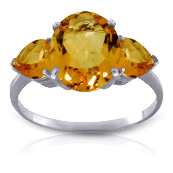 14K White Gold 2.50ct Heart & 1.0ct Oval Citrine Ring