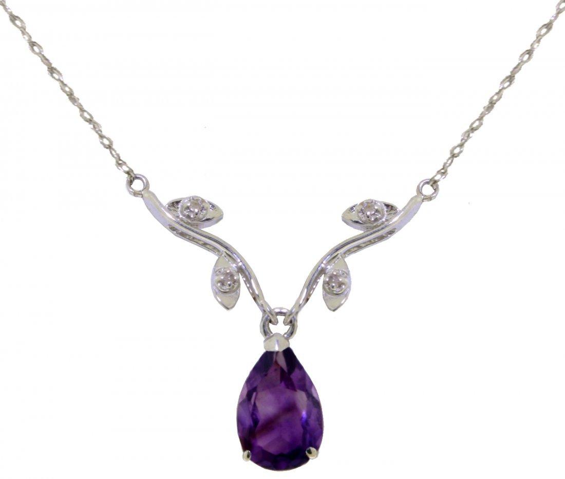 Elegant 1.50ct Amethyst w/ Diamond Necklace in 14k WG