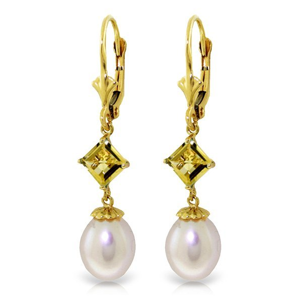 14K Solid Gold 8.0ct Pearl & 1.5ct Citrine Earring