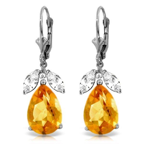 14k Solid Gold 12.0ct Citrine & White Topaz Earrings
