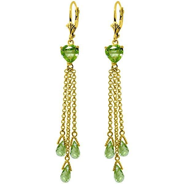 14K Solid Gold 6.9ct & 2.6ct Heart Peridot Earring