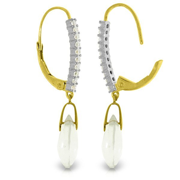 14K Solid Gold 6.0ct White Topaz & Diamond Earring - 2
