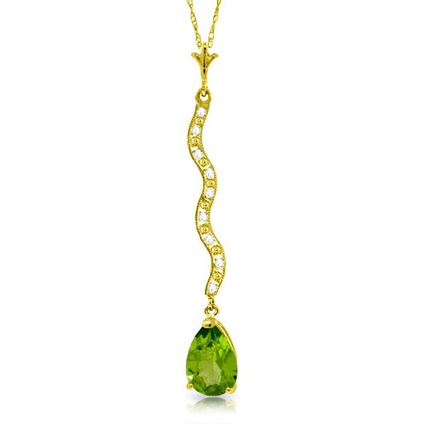 14k Solid Gold 1.75ct Peridot & Diamonds Necklace