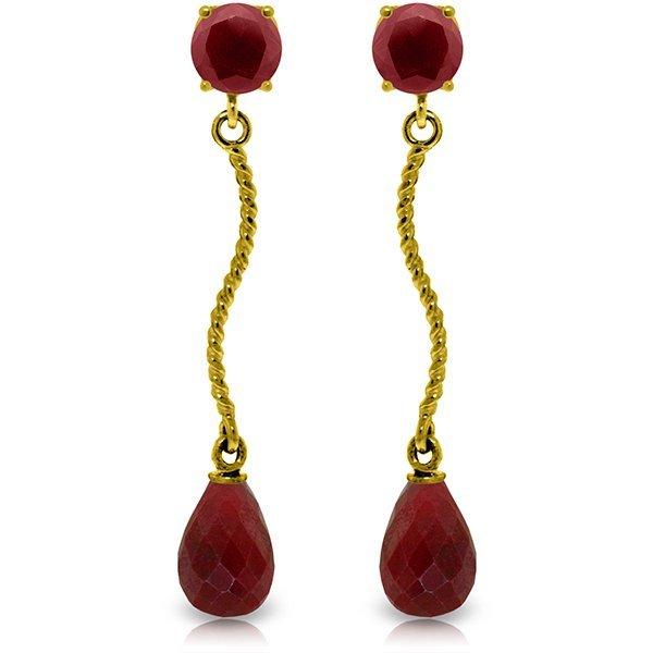 14k Solid Gold Ruby Drop Dangle Earrings
