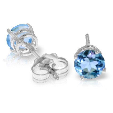 14k WHITE GOLD 0.95ct Blue Topaz Stud Earrings
