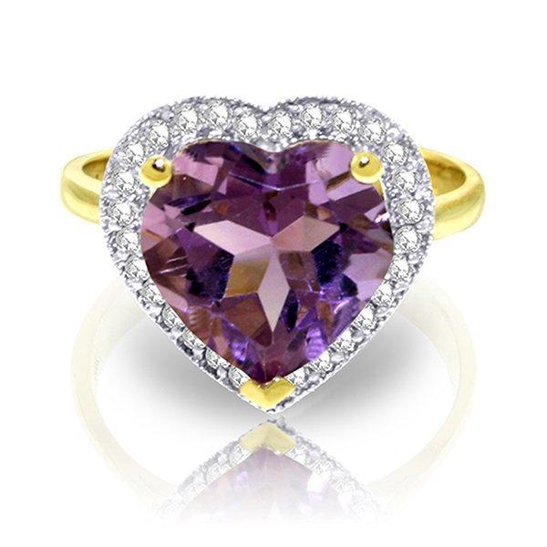 3.24ct 14k Solid  Gold Ring Diamond Heart Amethyst