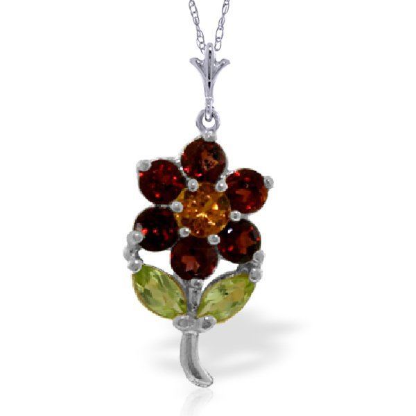 14k Solid Gold Citrine, Peridot & Garnet Necklace