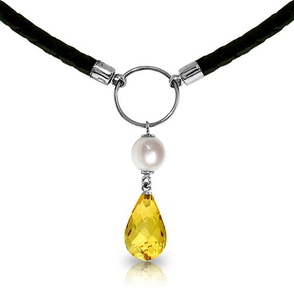 14K White Gold 2.0ct  Pearl & 5.5ct Citrine Necklace