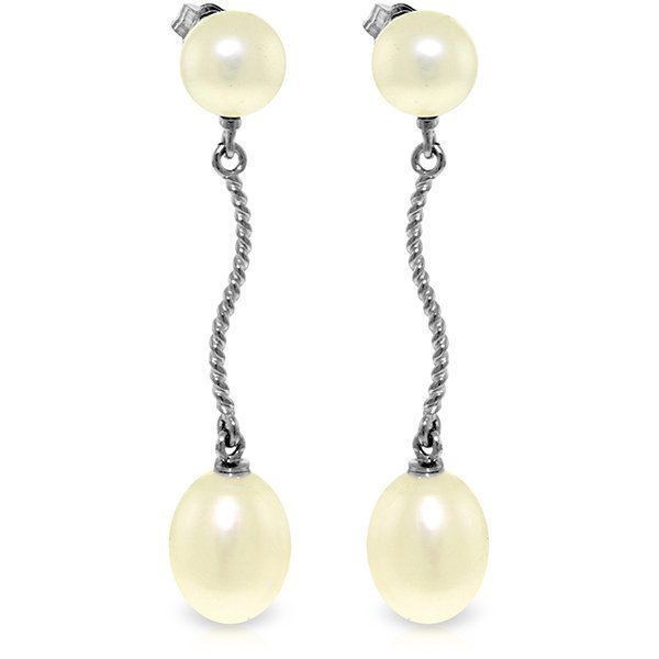 14K White Gold 8.0ct & 2.0ct Pearl Dangling Earring