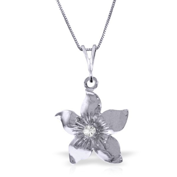 14k White Gold 0.05ct Diamond Flower Necklace