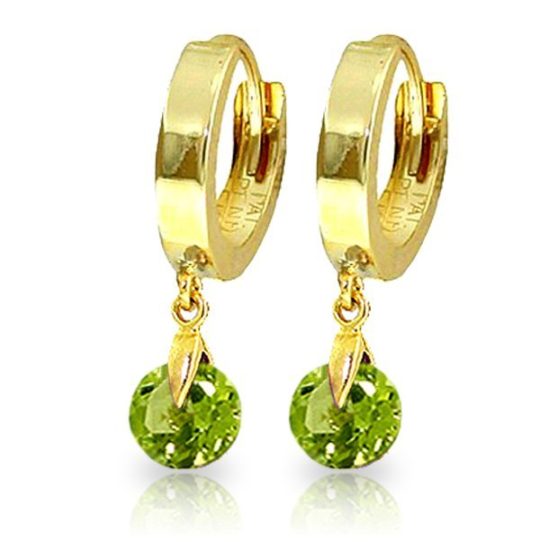 14K Solid Gold 2.00ct Round Peridot Hoop Earring