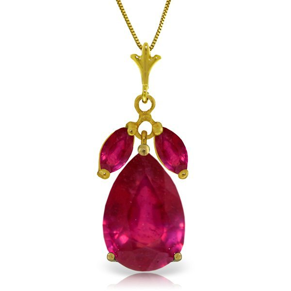 14K Solid Gold 5.0ct and .50ct Rubies Necklace