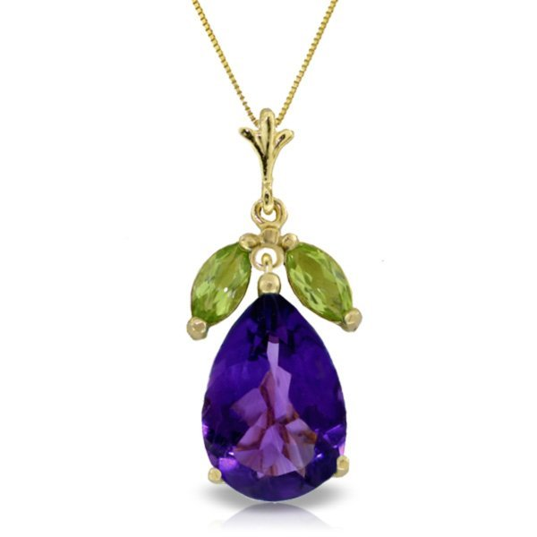14k YG 6.00ct Amethyst and 0.50ct Peridot Necklace