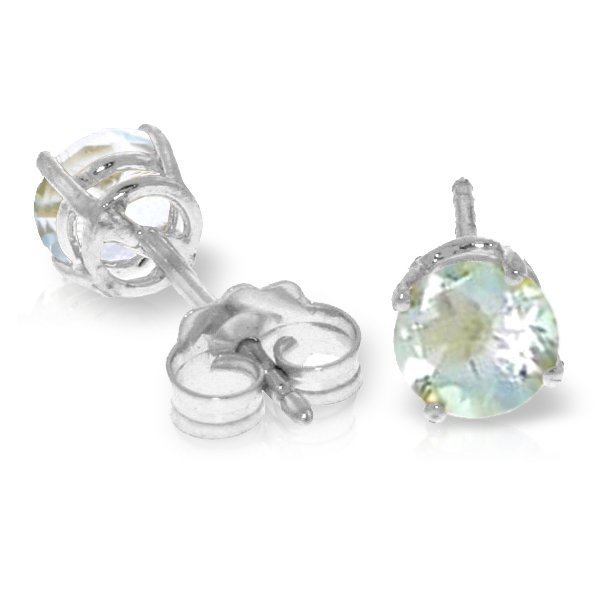 14k WG 0.95ct Aquamarine Stud Earrings