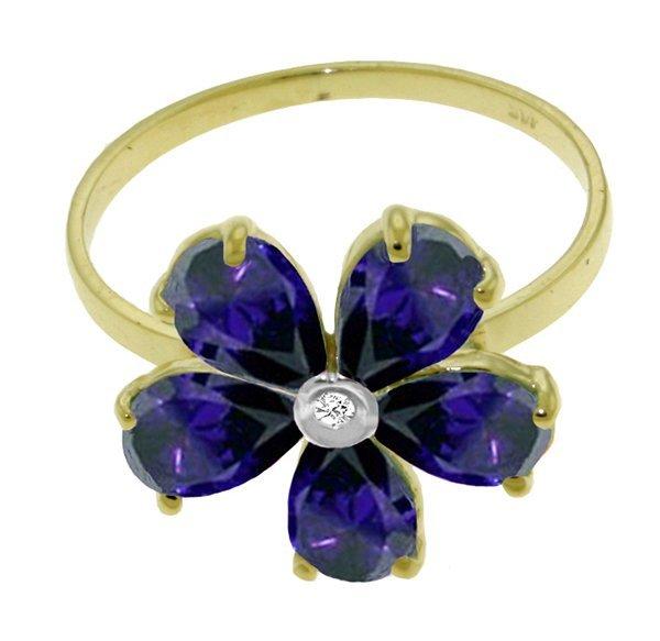 2.20ct Sapphire & DIAMOND Flower Ring in 14k YG