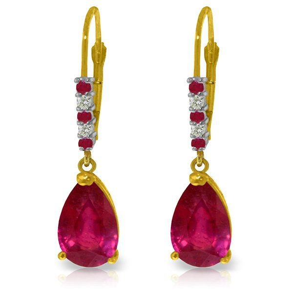 14k YG 3.00ct .12ct Ruby with Diamond Leverback Earring