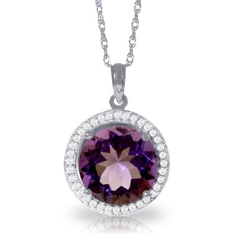 14K White Gold 6.0ct Amethyst & Diamond Necklace