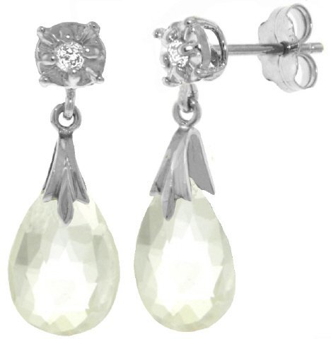 14k 6.0ct White Topaz Earrings with Diamond Accent