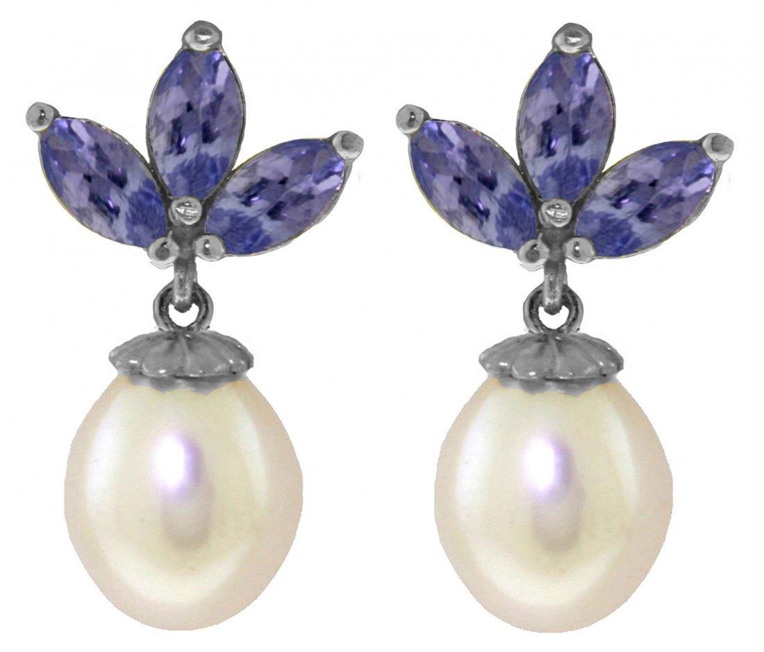 14k White Gold Pearl & 1.50ct Tanzanite Earrings