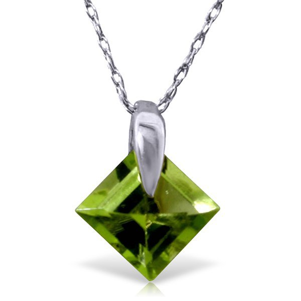 14K Sold Gold 1.16ct Square Peridot Necklace