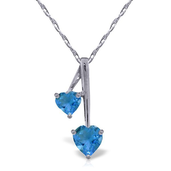 14K WG .90ct & .50ct BLUE TOPAZ HEART NECKLACE
