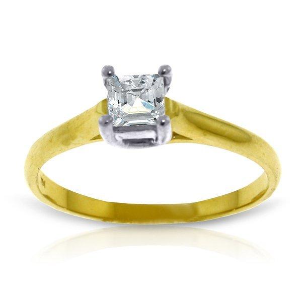 14k YG 0.50ct, K-M, I3 Princess cut Diamond Ring